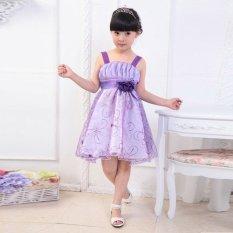 Bayi Perempuan Anak Princess Tanpa Lengan Motif Bunga Pesta Pernikahan Ulang Tahun Gaun Resmi