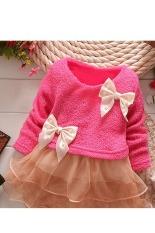 Bayi perempuan dunia maya Putri Balita tali ikatan simpul baju gaun Pesta bunga (Merah)