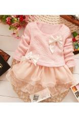 Bayi perempuan dunia maya Putri Balita tali ikatan slyly baju Party gaun bunga (Berwarna Merah muda)