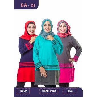Believe Blouse Atasan BA-01 Kaos Wanita Baju Muslim Tunik Kemeja Kaos Abu