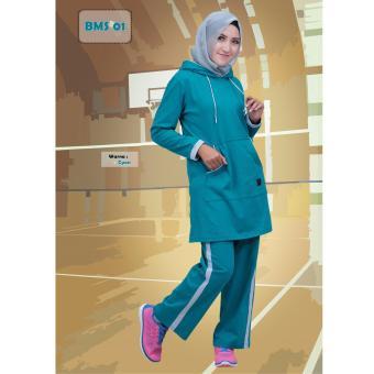 Believe Setelan BMS-01 Baju Olahraga Muslim Kaos Wanita Baju Muslim Kaos  Cyan 009c39232f