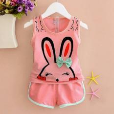 BEST SELLER Setelan Bunny Anak Perempuan 3 - 5 tahun / Shirt Kids / Baju dan Celana Polos / Trendy Lucu Bagus Kiddy (st nnybu) XR - Pink