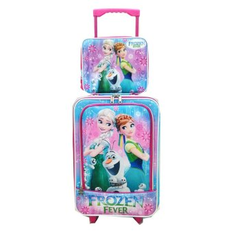 BGC Disney New Frozen Fever Anna Elsa Tas Koper 2 Kantung Depan Set Dengan Lunch Bag Frozen - Pink