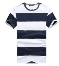 Big Size Cyber Fashion Men's Casual Short Sleeve T-shirt Stripestyle (DARK BLUE)