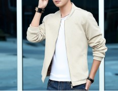 Big Size Cyber Korean Fashion Men's Casual Long Sleeve Jacket Pure Color (GRAY) - Intl