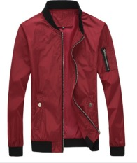 BIG SIZE Men's New Fashion Slim Long-Sleeved Casual Bomber Jacket Pure Color (RED) - Intl
