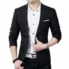 Blazer Hugo black OT - Blazer Pria Katun Stretch Hitam