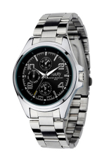 Bluelans Men's Alloy Stainless Steel Analog Quartz Wrist Watch Black