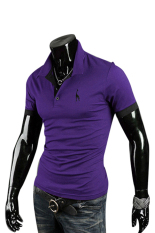 Bluelans Men's Summer Fawn Embroidery Polo Slim Fit Tee Short Sleeve T-Shirt Purple