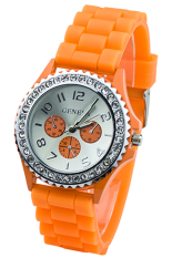 BlueLans Orange Crystals Rubber Silicone Gel Jelly Strap Watch