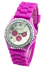 BlueLans Pink Crystals Rubber Silicone Gel Jelly Strap Watch