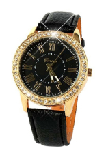 Bluelans Rhinestone Black Strap Black Case Roman Numerals Quartz Watch
