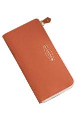 Bluelans Women Coin Card Phone Holder Purse Faux Leather Zip Handbag Orange