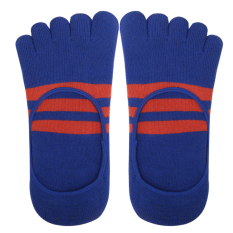 BolehDeals Footful Stripes Cotton Five Fingers Toe Sock Invisible Socks For Men Blue