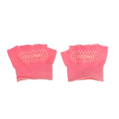 BolehDeals kaus kaki pijat pilates yoga 5 jari setengah kaki antislip untuk olahraga merah muda -
