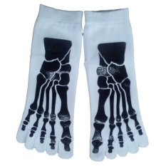 One Pair Mens Five Toes Crew Socks - White with Skull Skeleton Pattern