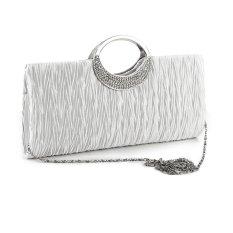 Women Handbag Shoulder Clutch Bag Bling Crystal Rhinestone Evening Party White