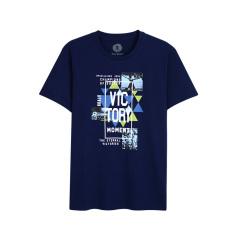 Bossini kasual baru dicetak leher bulat lengan pendek t-shirt (543 asap angkatan laut biru)