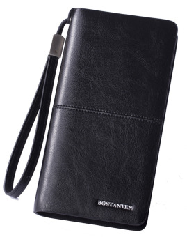 Bostanten Cow Leather Business Casual Wallet Checkbook Organizer Handbag For Men (Black) - Intl