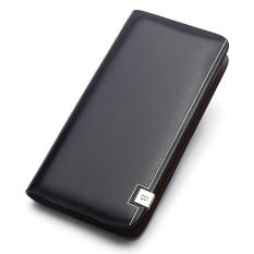 Bostanten Men's Cow Leather Clutch Purse Business Long Wallet Handbags (Black)