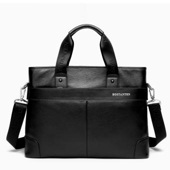 Bostanten Men's Genuine Cowhide Leather Handbag Laptop Bag Black + A Free Genuine Leather Keychain