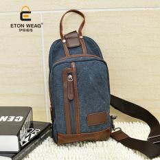 Brand Design New Canvas Bag Leisure Fashion Chest Bag Korean Men's Handbag Men Canvas Chest Bag Sling Bag -Dark Blue - Intl