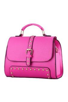 Brief Design Rivet Women Tote Bag Office Lady Handbag Rose