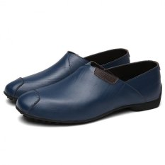 British Retro Fashion Exquisite Casual And Comfortable Soft Bottom Shoes Peas (Blue)