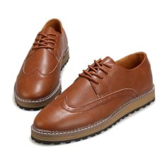 Bullock Carved Men's Thick Soled Shoes Retro British Men Casual Shoes Leather Shoes