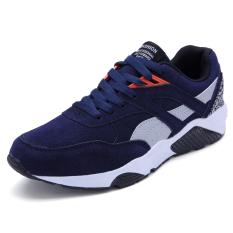 busana kasual pria renda lari sepatu sneakers biru