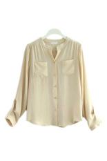Button Pocket Women Casual T Shirt Chiffon Blouses (Apricot)