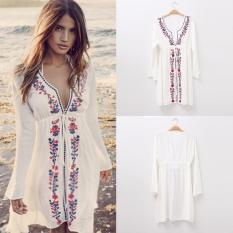 BUYINCOINS Summer Women Bathing Suit Sexy V-Neck Long Sleeve Lace Embroidery Bikini Swimwear Cover Up Beach Dress White - intl