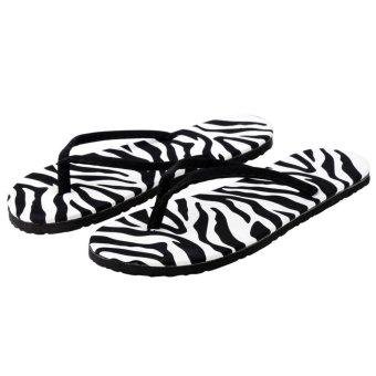 C1S Summer Beach Flip Flops Summer Flat Sandals (Black&White) - intl
