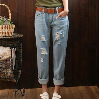 Harga Cahaya Wanita Dicuci Harem Jeans Robek Longgar Biru