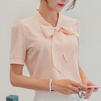 Caidaifei Korea Fashion Style Warna Solid Musim Semi Dan Musim Panas Baru Lengan Pendek Kemeja Bottoming