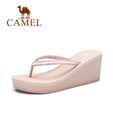 Camel Manis Batu Kristal Air Lereng Wanita Dengan Sendal Sepatu Wanita (A72226670, Merah Muda)