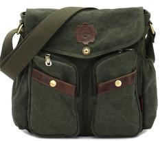 Canvas Bag Men Casual Crossbody Shoulder Bag Men Messenger Bags Green