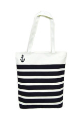 Canvas Black Anchor Pattern Shopping Shoulder Bags Women Handbag Beach