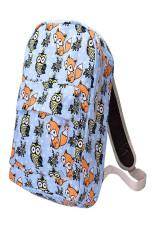 Canvas Owl Rucksack Backpack School Book Blue