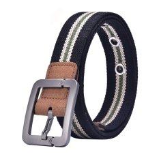 Canvas Strap Pin Buckle Men Belt (Black)