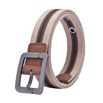 Canvas Strap Pin Buckle Men Belt (Light Brown)