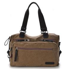 Canvas Travel School Casual Messenger Bag Bookbag (Brown)