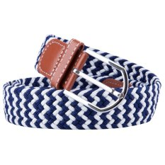 Canvas Woven Stretch Waist Belt With Alloy Pin Buckle (Blue)