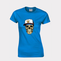 Cartoon Skull Heads Design Short-sleeved T-shirt Fitted Pure Cotton Base T-shirt Blue Size Of Woman XL - Intl