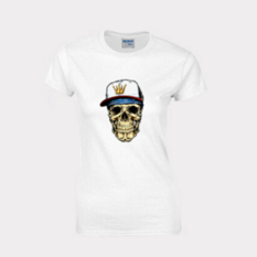 Cartoon Skull Heads Design Short-sleeved T-shirt Fitted Pure Cotton Base T-shirt White Size Of Woman S - Intl
