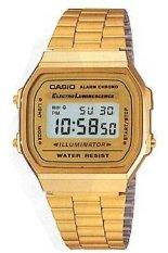 Casio Digital Jam Tangan Wanita - Gold - Strap Rantai- A-168WG-9W