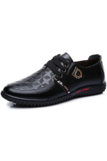 Casual Breathable Men's Leather Shoes England Business Shoes (Black) (Intl)