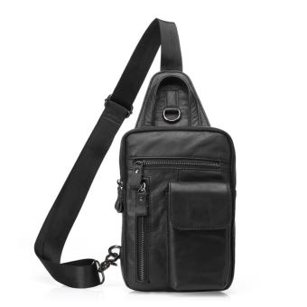 Casual Daypack Top Grain Cow Leather Sling Shoulder bag Chest pack - intl