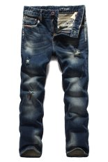 Casual Korean Style Clubwear Jeans Men Cargo Holes Pants (Intl)