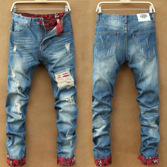 Casual Male Men's Pants Hole Vintage Jeans - Intl